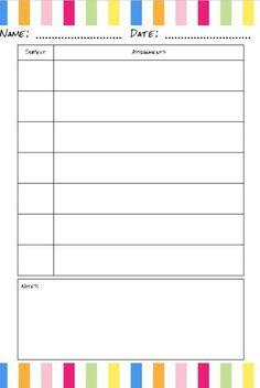 A Free Printable Homework Planner ItS Pretty  Free Printable