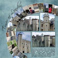 Tower of London multi photo scrapbook layout Travel Scrapbook Pages, Vacation Scrapbook, Photo Album Scrapbooking, Scrapbook Sketches, Scrapbook Page Layouts, Scrapbook Paper Crafts, Scrapbook Albums, Scrapbook Cards, Material Scrapbooking