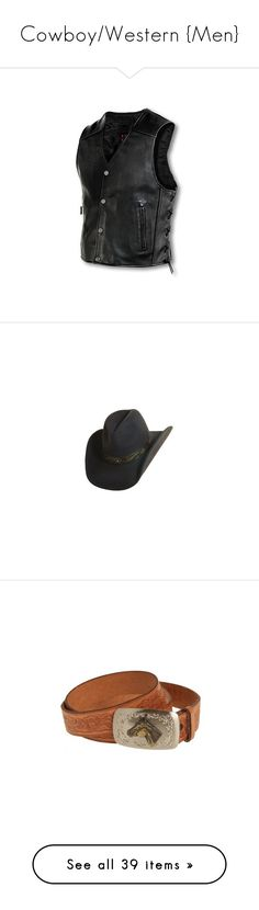 """""""Cowboy/Western {Men}"""" by ladyequestria ❤ liked on Polyvore featuring men's fashion, men's clothing, men's outerwear, men's vests, men, mens vest outerwear, mens leather vest, mens vest, accessories and hats"""