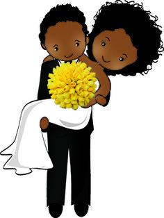 Noivinhos negros com bouquet amarelo.