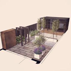 58 Ideas For Backyard Garden Design Layout Shape Stone Patios 58 Ideas For Bac& Garden Design Plans, Patio Design, Exterior Design, Back Gardens, Outdoor Gardens, Garden Architecture, Pergola Shade, Terrace Garden, Garden Planning
