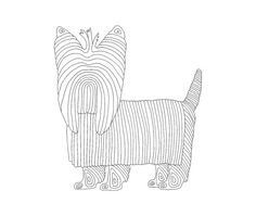 Dog: a geometric Yorkie coloring page!