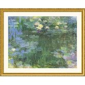 White and Purple Water Lilies Gold Framed Print - Claude Monet