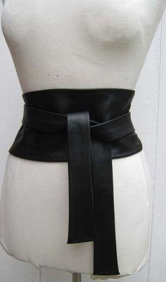 Black luxury leather wide obi cinch belt by elizabethkelly on Etsy