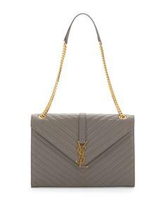 Cassandre Large V-Flap Shoulder Bag, Fog Gray by Saint Laurent at Neiman Marcus.