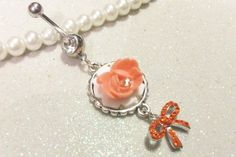 Belly ring, piercing ring with peach rose and orange crystal bow 14ga | YOUniqueDZigns - Jewelry on ArtFire