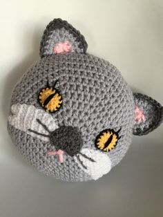 Crochet cat pillow, handmade pillow , animal pillow , gray cat pillow Crochet cat pillow by PeanutButterDynamite on Etsy Chat Crochet, Crochet Amigurumi, Crochet Mittens, Crochet Dolls, Crochet Yarn, Crochet Cushions, Crochet Pillow, Cat Pillow, Handmade Pillows
