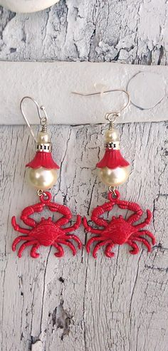 Red Crab Patina Pearl Earrings Beach Ocean by Secret Stash Boutique on Etsy
