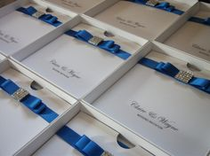 Handmade wedding invitation The Dior Crystal shown in white and Royal Blue x 1 sample
