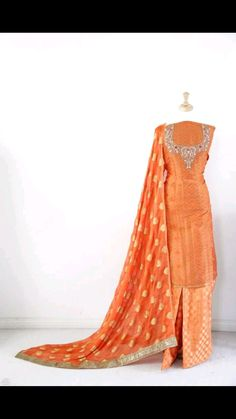 Hand Embroidered Pure Creap Suit in Orange