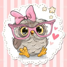 Cute owl in pink eyeglasses. Cute cartoon owl in pink eyeglasses with a bow vector illustration Bird Drawings, Animal Drawings, Cute Drawings, Cute Owl Drawing, Owl Clip Art, Owl Art, Owl Vector, Free Vector Art, Cute Owls Wallpaper