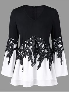 Bell sleeve applique color block blouse black superb summer outfits ideas to inspire you ideas inspire outfits summer superb hkeln sie kleidung outfit Moda Fashion, Womens Fashion, Diy Clothes, Clothes For Women, Mode Chic, Black Blouse, Black Pants, Types Of Sleeves, Outfits For Teens