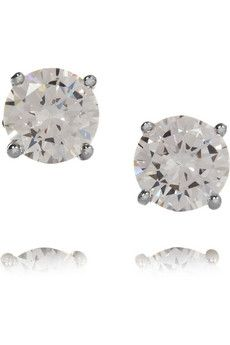 Kenneth Jay Lane Rhodium-plated cubic zirconia earrings | NET-A-PORTER