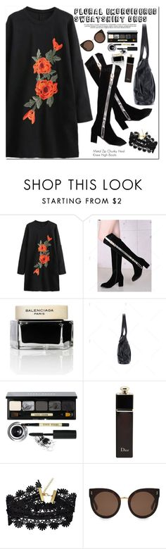 """""""Floral Embroidered Sweatshirt Dres"""" by oshint ❤ liked on Polyvore featuring Balenciaga, Bobbi Brown Cosmetics, Christian Dior and STELLA McCARTNEY"""