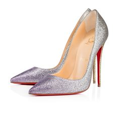 """""""So Kate's"""" pointed toe and superfine stiletto heel give her an eye-catching allure. Her dramatic pitch provides you with a supremely sexy 120mm silhouette. This season's glistening pastel dégradé mini glitter version gives any ensemble an original touch."""