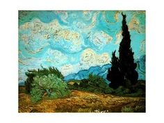 Wheat Field with Cypresses, 1889 Giclee Print by Vincent van Gogh at Art.com