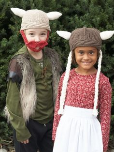 Free Pattern - Very on-trend, #knit these viking-style Helga and Hagar hats for your little warriors! #halloween