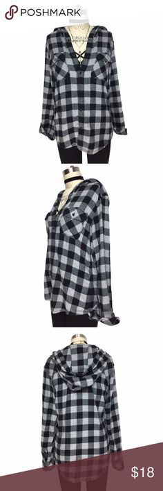ULTRA COZY WORN IN SOFT HOODED BUTTON DOWN FLANNEL ULTRA COZY WORN IN SOFT HOODED BUTTON DOWN FLANNEL!! Such a BASIC NECESSITY for your closet! Classic black & gray buffalo plaid double front pocket plaid top! Perfect grab and go styling piece! AND WHO DOESN'T LOVE A HOOD!! Fabric is 100% COTTON! Measurements - LENGTH: 25.5' / BUST: 17' Vintage Tops Button Down Shirts