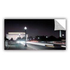 ArtAppealz Steve Ainsworth Memorial Bridge at Night Removable Wall Art, Size: 24 x 48, White