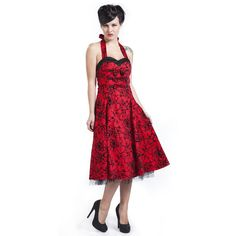 """Abito """"Red Flocking Long Dress"""" di #H&RLondon in stile Pin Up, rosso con rose nere, tulle, scollatura a cuore e allacciatura dietro al collo. lu.: 83 cm circa. Womens Fashion Uk, Vintage Fashion, Women's Fashion, Rockabilly Pin Up, Pin Up Style, Valentine Gifts, Lady In Red, Tulle, Flocking"""