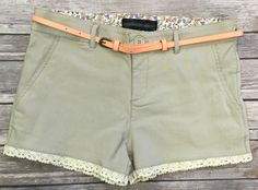 Belted Trim Shorts: Khaki from privityboutique