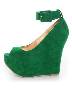 Luichiny Roll Call Green Peep Toe Super Platform Wedges from @Lulus.com are so fierce! Get in the spirit of St Paddy's day & rock these all month long! $85 #shoes #style