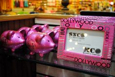 Piggy banks and picture frames at the Dollywood Emporium