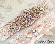 Rose Gold Blush Lace Bridal Garter Set, Lace Wedding Garter, Personalized…