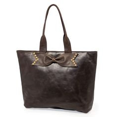 Espresso Leather Accent Tote with Studded Bow // Sseko Designs #SsekoWishList #ssekostyle