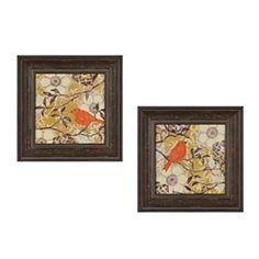 Bird in a Bush Framed Art Print, Set of 2