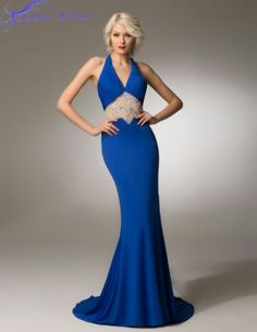Blue Mermaid Evening Gown