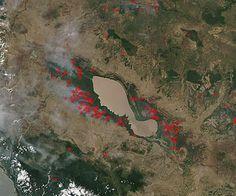 Fires around Tonle Sap, Cambodia