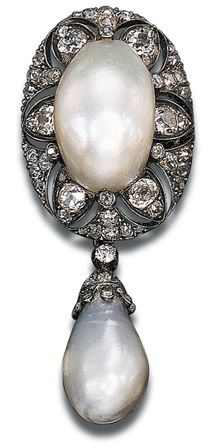 c1870 Pearl and Diamond Brooch designed as a drop-shaped pearl pendant suspended from an old mine-cut diamond pierced oval-shaped top set w a central baroque pearl