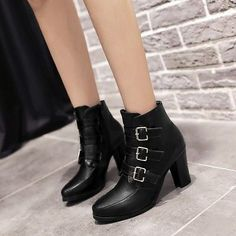 Womens Buckles Pointed Toe Chunky Heel OL Pull On Cool Knight Ankle Boots Shoes