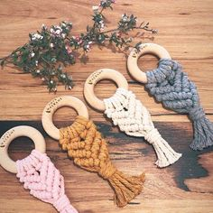 Ever so sweet teethers LM's macramé teething toys are handmade from cotton and beech wood teething rings. Our untreated beech rings are non-toxic, AS/NZ ISO 8124 certified and are completely safe for little ones to chew on. Diy And Crafts, Arts And Crafts, Macrame Knots, Macrame Bag, Wooden Teething Ring, Macrame Design, Baby Teethers, Macrame Projects, Teething Toys