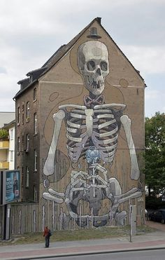 Skeleton building street art