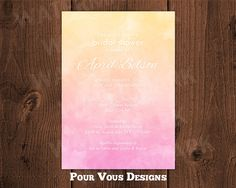 Watercolor Ombre Bridal Shower Invitation Hens Graduation Party - Personalized & Printable