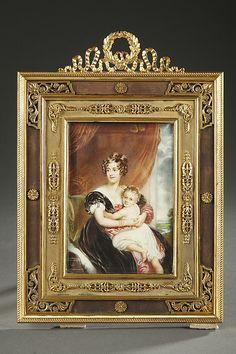 Gilt bronze frame and ivory miniature signed wf