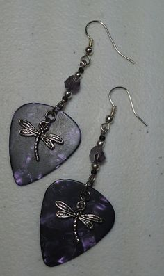 Purple Dragonfly Guitar Pick Earring