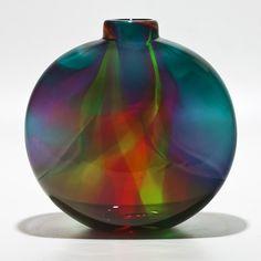 Transparent Ribbon Vase in Lagoon, Lime & Cranberry: Michael Trimpol: Art Glass Vase - Artful Home