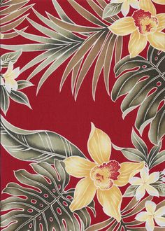 40aunaki. Tropical Hawaiian orchid & plumeria flowers, cotton apparel fabric.