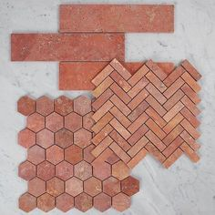 Loving the colour of these mosaics! It's like brick, terracotta and marble all mix together! Terracotta Floor, Pink Marble, Glass House, Interior Inspiration, Color Inspiration, Textures Patterns, Decoration, House Design, Flooring