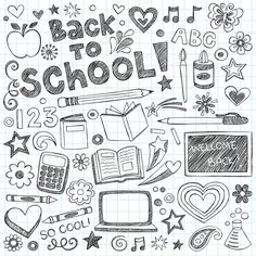 Welkom terug op school schetsmatig notebook handgetekende doodles met letters, vallende sterren, harten en swirls-vector illustratie ontwerpelementen op bekleed schetsboek papier achtergrond