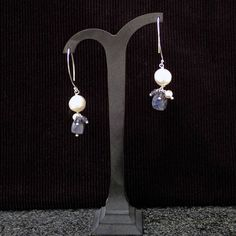 Freshwater white Pearl earrings with Iolite cubes. Dangle earrings, Handmade, gemstone earrings, blue colour, white colour, bridal, wedding by Menir on Etsy