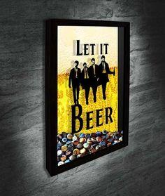 Quadro para Tampinhas de Cerveja - Let it Beer - Beatles