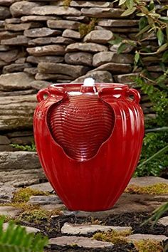 Essential Garden Glazed Pot Fountain Red ** Read more  at the image link.