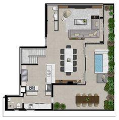 Layouts Casa, House Layouts, Apartment Layout, Apartment Interior, House Layout Plans, House Plans, Lofts, Dream House Exterior, Francisco Rocha