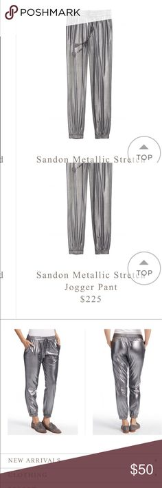 Calypso st Barth stretch joggers silver Silver metallic stretch joggers - I wear 16/18 they fit like leggings on me. Calypso St. Barth Pants Track Pants & Joggers