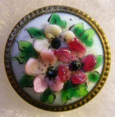 Bouton ancien en pâte de verre sur laiton FLEUR (2,4 cm) ANTIQUE flower button in Collections, Costumes, vêtements d'époque, Boutons | eBay