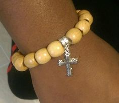 """""""Nailed to the Cross"""" wood beads on stretch band w/cross  #love924"""